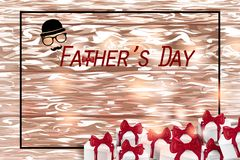 Happy Father`s Day card  on wooden background royalty free stock images