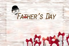 Happy Father`s Day card  on wooden background royalty free stock photography