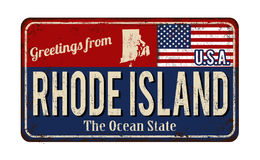 Greetings from Rhode Island vintage rusty metal sign Stock Photo