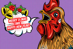 Greetings Of Rooster Comic Style Design Stock Image