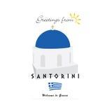 Greetings from santorini greek island illustration Stock Photos