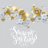 Greetings with shine snowflakes Royalty Free Stock Photography