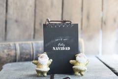 Greetings in spanish language. Feliz navidad card Stock Image