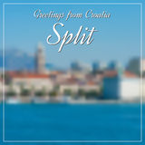 Greetings from Split postcard with blurry image in back Stock Photos