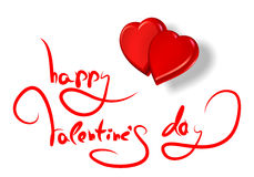 Greetings for valentine's day and red hearts isola Stock Photo