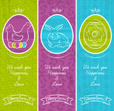 Greetings web banner for Easter Day with frame Royalty Free Stock Images