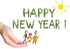 Greetings words Happy New Year. Happy family walking under the yellow bright sun shining. Objects are executed of color plasticine Royalty Free Stock Photo