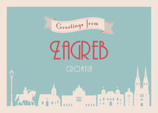 Greetings from Zagreb postcard Stock Photos