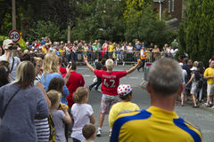 Greetland, England, JUL 06:  Crowd of people wainting for the cy Royalty Free Stock Photo