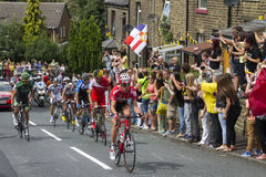 Greetland, England, JUL 06: The peloton riding up Hullen edge la Stock Images