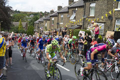 Greetland, England, JUL 06: The peloton riding up Hullen edge la Royalty Free Stock Photo