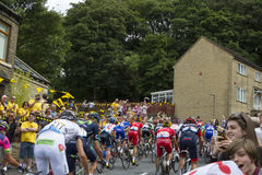 Greetland, England, JUL 06: The peloton riding up Hullen edge la Stock Image