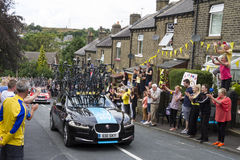 Greetland, England, JUL 06:Team Sky car driving up Hullen edge l Royalty Free Stock Images