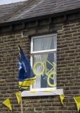 Greetland England, JULI 06: Yorkshire hus på Hullen kantgränd Royaltyfri Bild