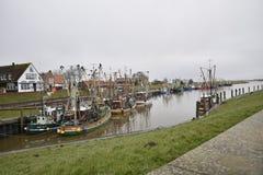 Greetsiel,德国捕鱼港口  库存照片