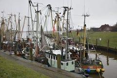Greetsiel,德国捕鱼港口  库存图片