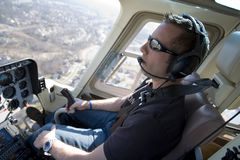 Greg Biffle pilots his helicopter Royalty Free Stock Images