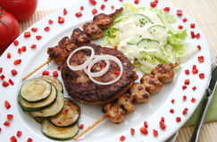 Greg food. A plate with greg food, meat and tzaziki stock photography
