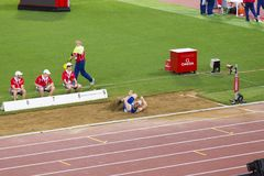 Greg Rutherford at long jump. Greg Rutherford reprezentant of Grate Britan at long jump on Diamond League in Rome, Italy in 2016 stock images