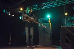Greg Rzab playing bass guitar. Notodden Blues Festival (NBF) 2013. John Mayall (79) with band visited NBF and played on Hovig Hangar. Band members: John Mayall Stock Photo