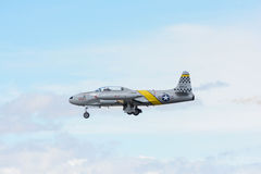 Greg Wired Colyer est voler Lockheed T-33 photographie stock
