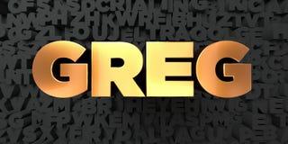 Greg - Złocisty tekst na czarnym tle - 3D odpłacający się królewskość bezpłatny akcyjny obrazek ilustracji