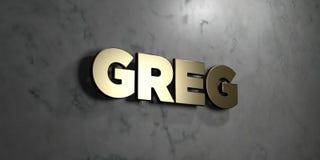 Greg - złoto znak wspinający się na glansowanej marmur ścianie - 3D odpłacająca się królewskości bezpłatna akcyjna ilustracja ilustracji