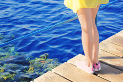 Gregarious feet on wooden bridge at sea Royalty Free Stock Image