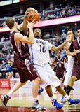Men's CIS Basketball Finals. Gregg Cater (right) in action for the Lakehead Thunderwolves in their match against Ottawa Gee-Gees at Scotiabank Place, Ottawa on stock image