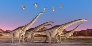 Gregge del dinosauro di Sauroposeidon illustrazione di stock