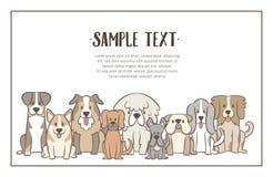 Gregge disegnato a mano del fondo dei cani royalty illustrazione gratis