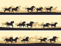 Gregge orizzontale dell'illustrazione dei cavalli. illustrazione di stock