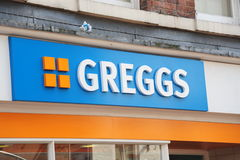 Greggs Bakers. Photograph of the logo of Greggs the bakers a successful business in the recession royalty free stock image