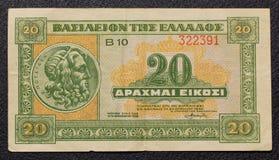 Grego 20 dracmas de nota de banco de 1940 Foto de Stock