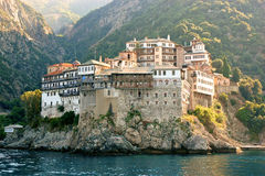Gregoriat monastery. View from sea on Orthodox Gregoriat Monastery in Holy Mount Athos, Greece Royalty Free Stock Photography