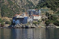 Gregoriou修道院,圣山, Halkidiki,希腊 库存照片