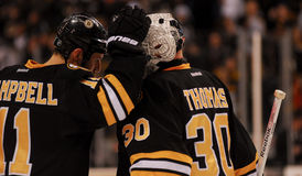 Gregory Campbell and Tim Thomas, Boston Bruins Royalty Free Stock Images