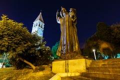 Gregory da estátua de Nin e da torre de Bell no Split fotos de stock royalty free