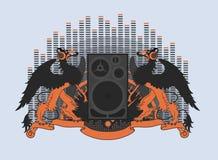 Greife in den Kopfhörern Stockfotografie