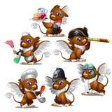 Greife in sechs verschiedenen Charakteren - Pirat, Militär, Kellner, Chef, Mädchen, Flieger lizenzfreie abbildung