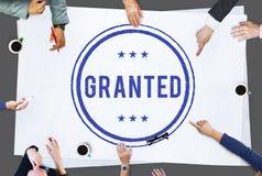 Greifen Sie auf bewilligtes Zustimmungs-Zeichen-Konzept zu Lizenzfreie Stockfotos