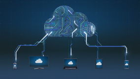 Greifen Sie auf Datenverarbeitungsservice-Animation der Wolke, Anwendung in Wolke zu stock abbildung