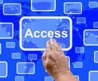 Greifen Sie auf Knopf über der Karte zu, die Erlaubnis und Sicherheit zeigt lizenzfreie abbildung