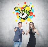 Greifen Sie herauf Teilhaber, Schlüssel zum Erfolg ab Stockbilder