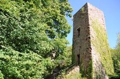 Greifenstein城堡废墟(Chateauu du Greifenstein) 免版税库存照片