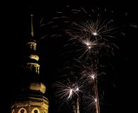 Greifswald Cathedral With Fireworks Stock Image