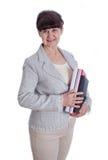 Greisin, die wie ein Büroangestellter, Sekretär aufwirft Stockbild