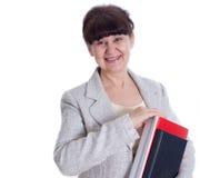 Greisin, die wie ein Verwalter, Sekretär aufwirft Stockbilder