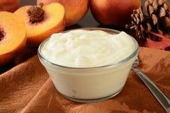 Grek brzoskwini stylowy jogurt Zdjęcia Royalty Free