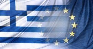Grek- och Europa flaggor Arkivbild